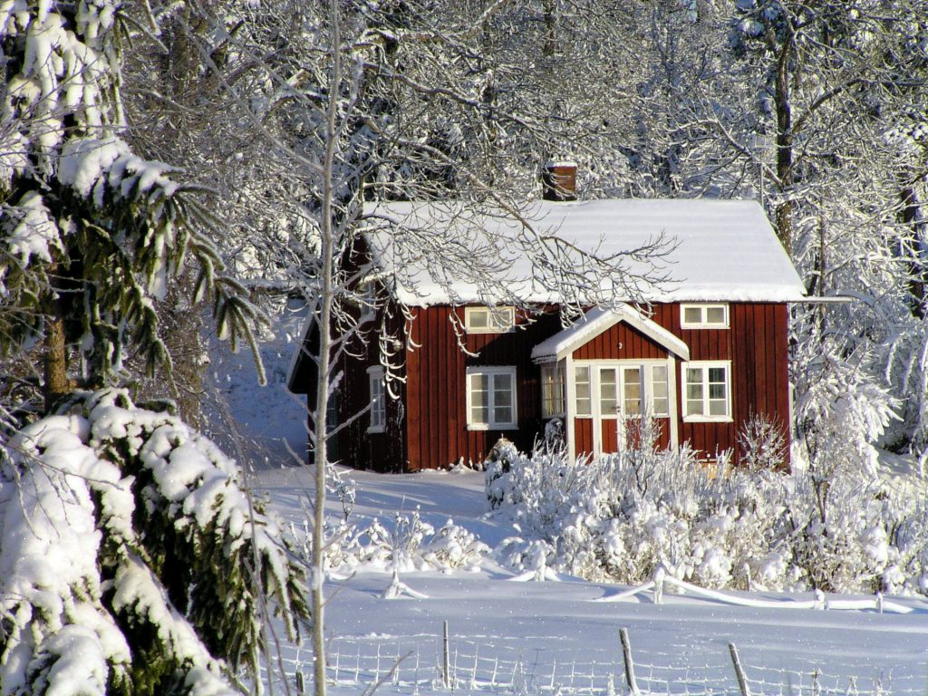 house and snow