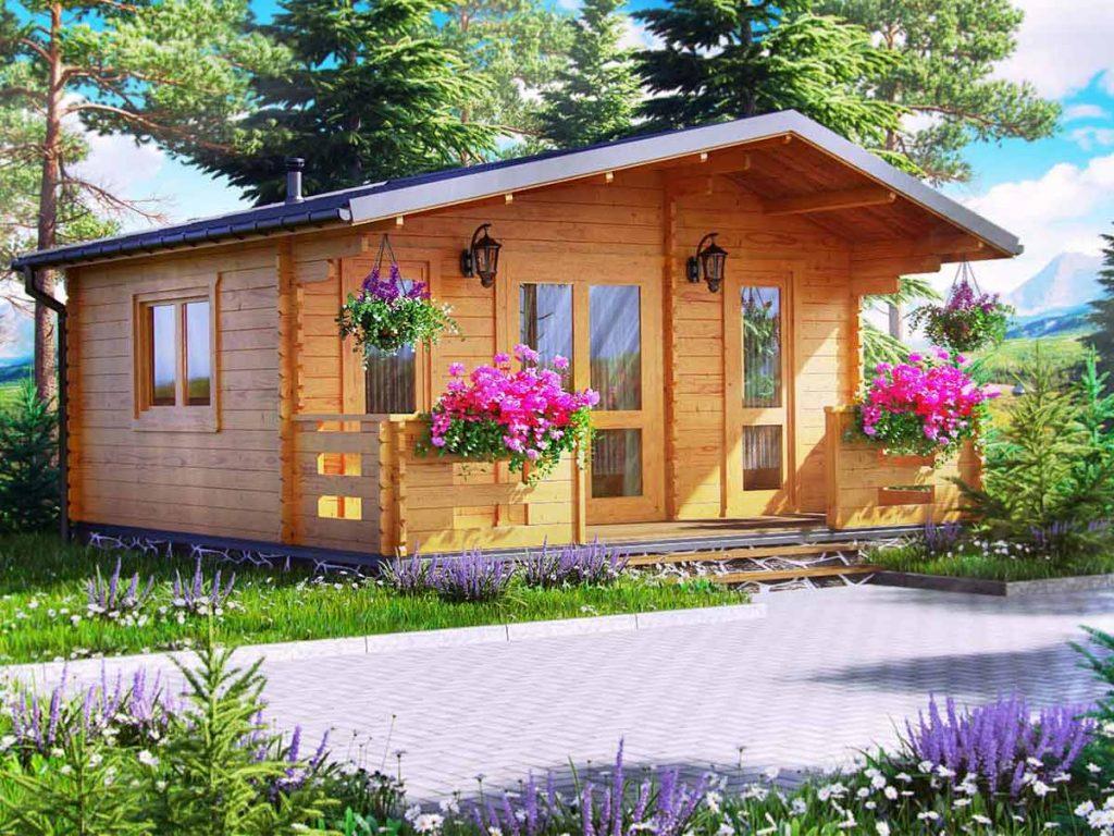 záhradný domček s kvetmi