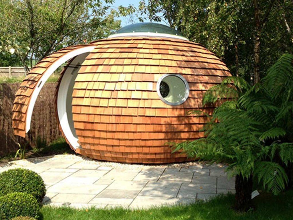 záhradný domček v tvare kokosu