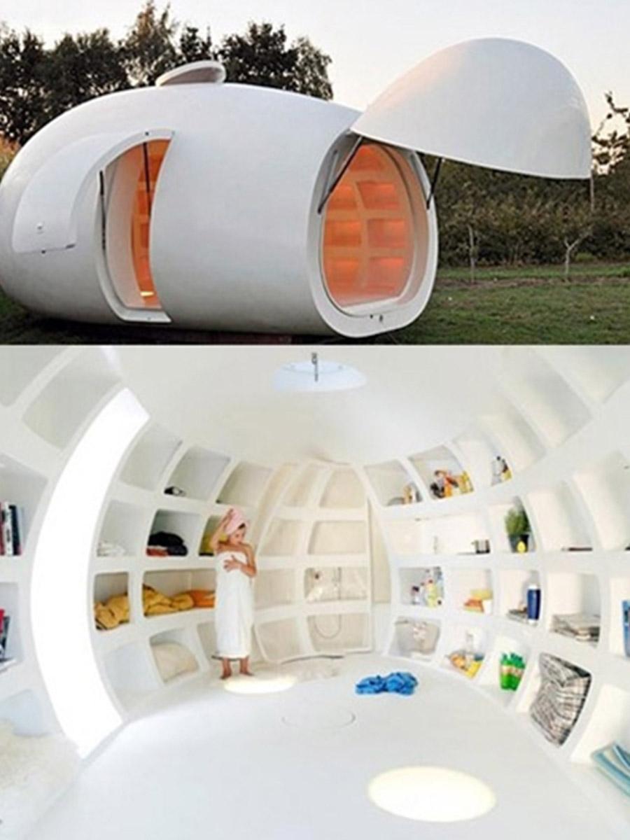 záhradný domček v tvare vajca