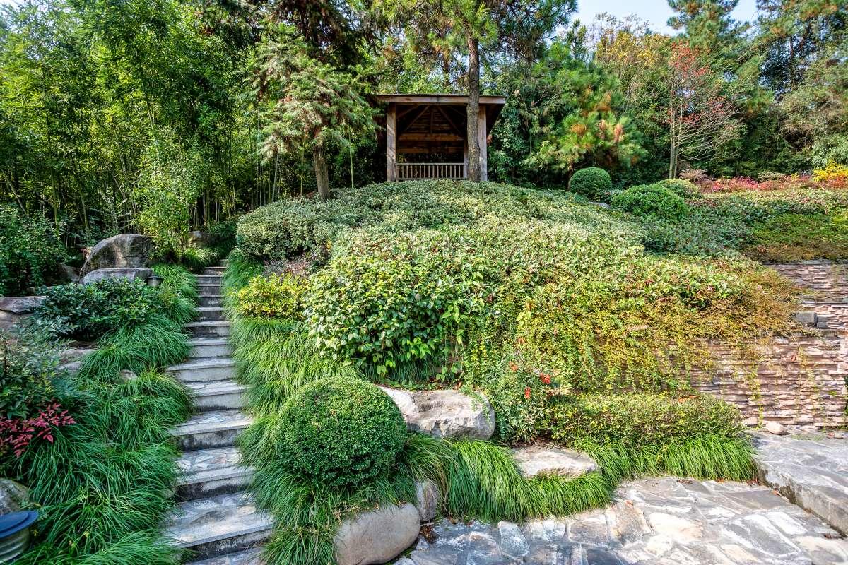 japonská záhrada so záhradným altánkom