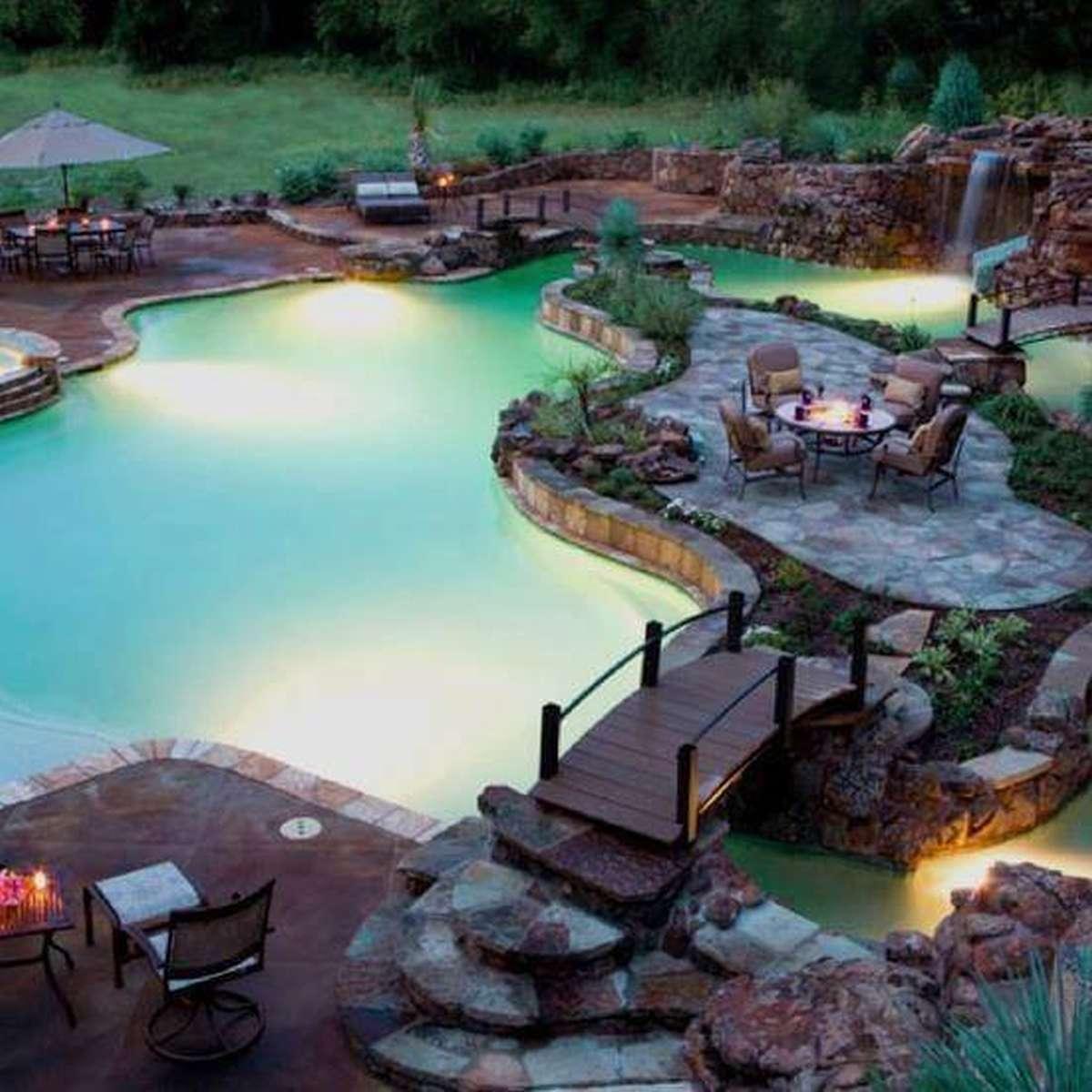 luxusné záhradné jazierko s posedením